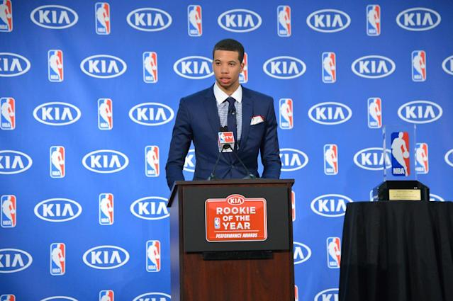 PHILADELPHIA, PA - MAY 5: Michael Carter-Williams of the Philadelphia 76ers speaks to the media as he receives the Eddie Gottlieb Trophy for the 2013-14 Kia NBA Rookie of the Year at the Philadelphia College of Osteopathic Medicine on May 5, 2014 in Philadelphia, Pennsylvania. (Photo by Jesse D. Garrabrant/NBAE via Getty Images)