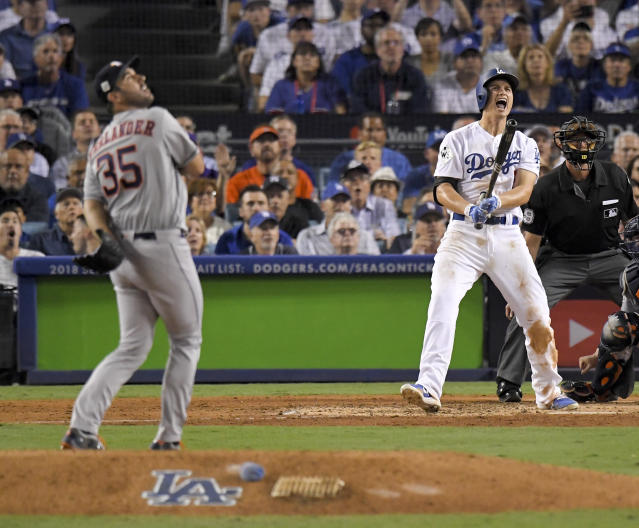 Los Angeles Dodgers' Corey Seager celebrates after a two-run home run off Houston Astros starting pitcher Justin Verlander during the sixth inning of Game 2 of baseball's World Series. (AP Photo/Mark J. Terrill)