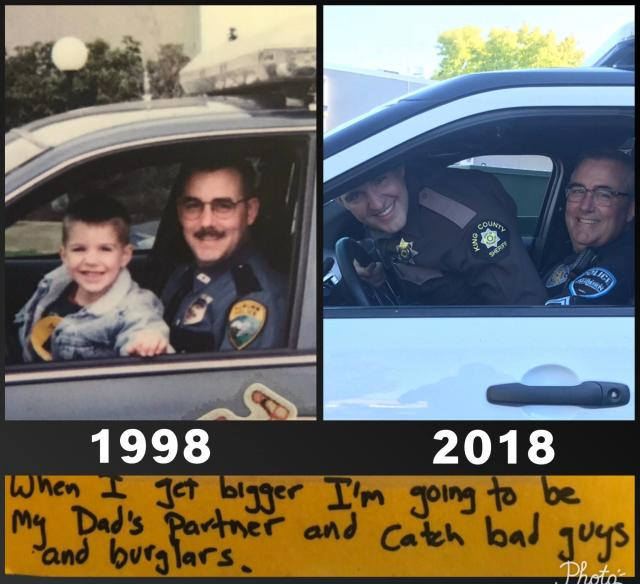 "The sweet Father's Day card from 1998 shows Officer Andrew Gold and his son riding in his patrol vehicle; this year, they reenacted the photo. (Photo:  <a href=""https://www.facebook.com/AuburnWAPolice/"" rel=""nofollow noopener"" target=""_blank"" data-ylk=""slk:Auburn, Washington Police Department"" class=""link rapid-noclick-resp"">Auburn, Washington Police Department</a>/Facebook )"