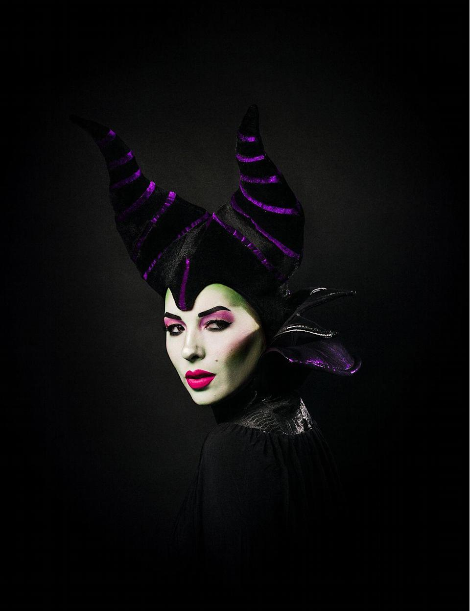 """<p>Sometimes a costume is less about the clothes than the face paint. For this take on Maleficent, blogger Keiko Lynn bought the cape and horns, using the time saved to concentrate on her magnificent makeup.</p><p><strong>Get the tutorial at <a href=""""https://keikolynn.com/2019/10/disney-villains-halloween-costumes/"""" rel=""""nofollow noopener"""" target=""""_blank"""" data-ylk=""""slk:Keiko Lynn"""" class=""""link rapid-noclick-resp"""">Keiko Lynn</a>.</strong></p><p><a class=""""link rapid-noclick-resp"""" href=""""https://www.amazon.com/gp/product/B000H6W2D0/ref=ppx_yo_dt_b_asin_image_o04_s03?tag=syn-yahoo-20&ascsubtag=%5Bartid%7C10050.g.36674692%5Bsrc%7Cyahoo-us"""" rel=""""nofollow noopener"""" target=""""_blank"""" data-ylk=""""slk:SHOP FACE PAINT"""">SHOP FACE PAINT</a><br></p>"""