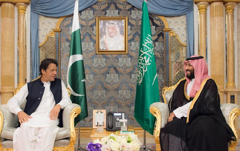 A Saudi handout picture shows Crown Prince Mohammed bin Salman meeting with Pakistani Prime Minister Imran Khan in Jeddah in September 2018 (AFP Photo/Handout)