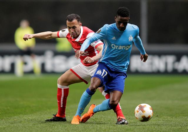 Soccer Football - Europa League Round of 32 Second Leg - S.C. Braga vs Olympique de Marseille - Estadio Municipal de Braga, Braga, Portugal - February 22, 2018 Marseille's Bouna Sarr in action with Sporting Braga's Jefferson REUTERS/Miguel Vidal