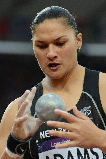 New Zealand's Valerie Adams competes in the women's shot put final at the athletics event of the London 2012 Olympic Games on August 6. The International Olympic Committee (IOC) confirmed that New Zealand's Valerie Adams has been awarded the gold medal after original winner Nadezhda Ostapchuk, of Belarus, provided two urine samples which were found to contain the banned anabolic agent metenolone