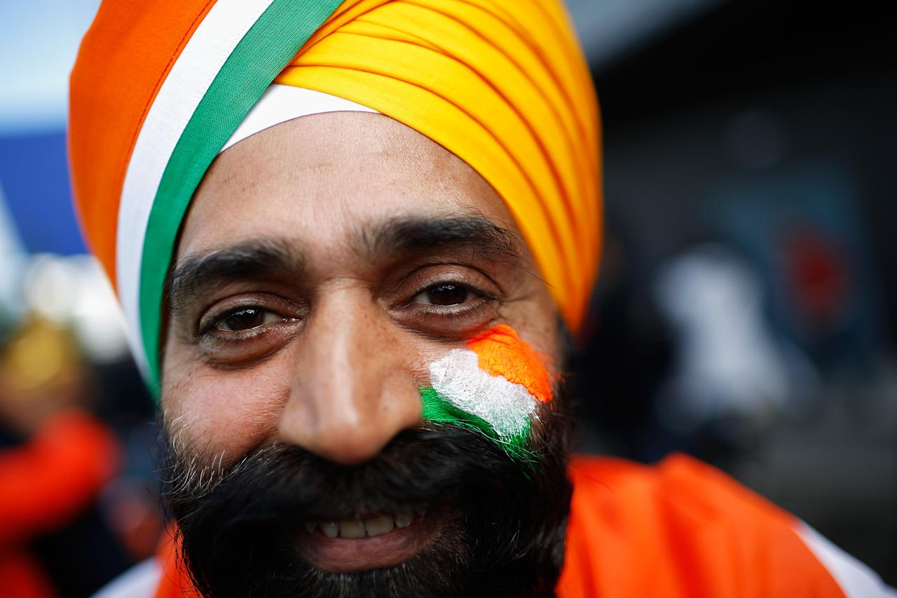 BIRMINGHAM, ENGLAND - JUNE 15: India supporter Singer Singh poses for a portrait prior to the ICC Champions Trophy group A match between India and Pakistan at Edgbaston on June 15, 2013 in Birmingham, England.  (Photo by Harry Engels-ICC/ICC via Getty Images)
