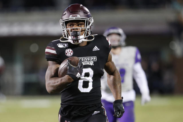 Mississippi State running back Kylin Hill is calling on the state of Mississippi to change its flag. (AP Photo/Rogelio V. Solis, File)