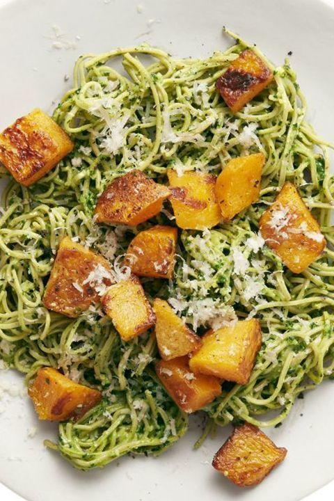"""<p>The colorful, healthy trio of flavors and textures is the perfect way to get out of a lunch rut. </p><p><a href=""""https://www.goodhousekeeping.com/food-recipes/a47137/soybean-pasta-with-kale-pesto-and-squash-recipe/"""" rel=""""nofollow noopener"""" target=""""_blank"""" data-ylk=""""slk:Get the recipe for Soybean Pasta with Kale Pesto and Squash »"""" class=""""link rapid-noclick-resp""""><em>Get the recipe for Soybean Pasta with Kale Pesto and Squash »</em></a></p>"""
