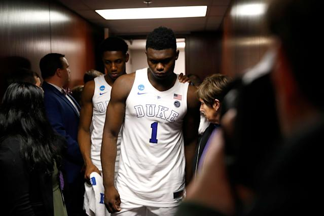Zion Williamson's name has come up in the federal hoops corruption trial. (AP)
