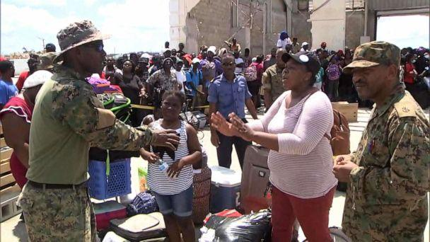 PHOTO: Rymrih Nairn, a mother of three, pleads with military officials for help in getting evacuated from the Abaco Islands in the Bahamas. (ABC News)