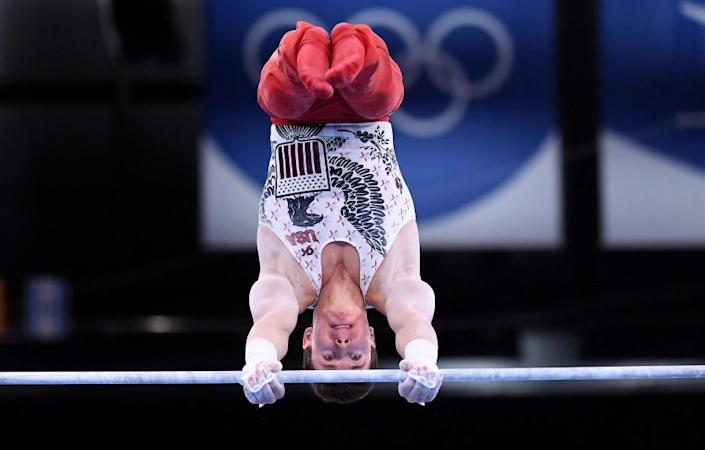 -TOKYO,JAPAN July 24, 2021: USA's Brody Malone competes on the high bar during team qualifying at the 2020 Tokyo Olympics. (Wally Skalij /Los Angeles Times)