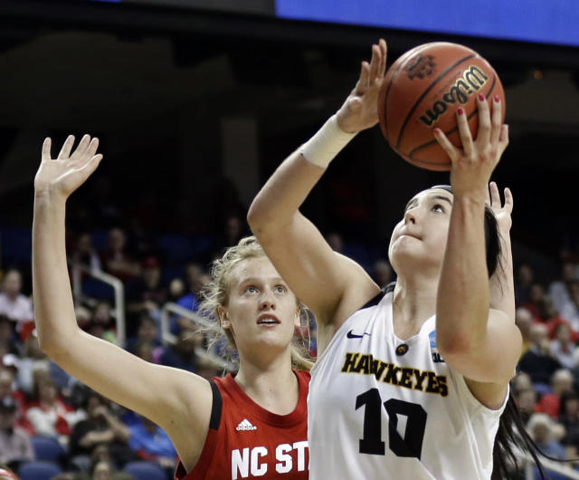 FILE - In this March 30, 2019, file photo, Iowa's Megan Gustafson (10) shoots against North Carolina State's Elissa Cunane (33) during the second half of a regional women's college basketball game in the NCAA Tournament in Greensboro, N.C. Gustafson of Iowa has won the Honda Sports Award as the top woman in college basketball. Gustafson led Division I women's basketball with an average of 28 points this season. (AP Photo/Gerry Broome, File)