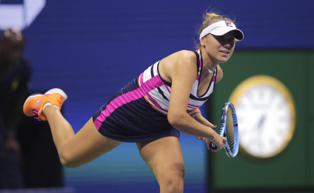 Sofia Kenin serves to Madison Keys during the third round of the U.S. Open tennis tournament Friday, Aug. 30, 2019, in New York. (AP Photo/Charles Krupa)