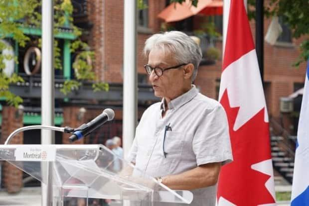 Rogre LeClerc says the Parc de l'Espoir was the only place members of Montreal's gay community could gather to mourn loved ones who died of HIV/AIDS. (Charles Contant/CBC - image credit)
