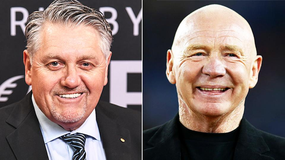 Broadcaster Ray Hadley (pictured left) during a red carpet and NRL legend Bob Fulton (pictured right) smiling at a presentation.