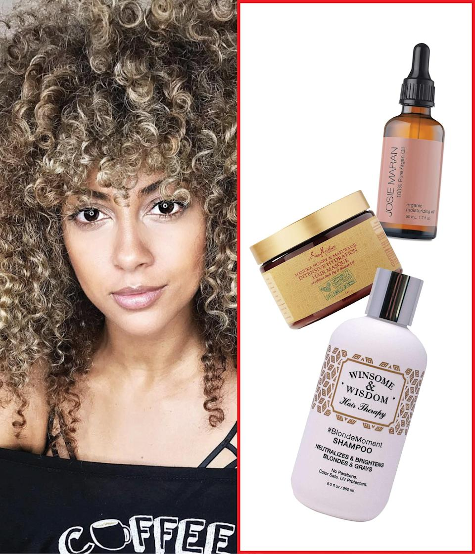 """When my hair is blonde, I use <a href=""""https://fave.co/2Rbs9EU"""" rel=""""nofollow noopener"""" target=""""_blank"""" data-ylk=""""slk:Winsome & Wisdom #BlondeMoment"""" class=""""link rapid-noclick-resp"""">Winsome & Wisdom #BlondeMoment</a> once a month. It contains sulfates, so I use it sparingly to avoid dryness, but I love how it neutralizes and brightens my blonde. For my weekly shampoo, I love <a href=""""https://www.amazon.com/SheaMoisture-Virgin-Coconut-Hydration-Conditioner/dp/B01NCZES6L"""" rel=""""nofollow noopener"""" target=""""_blank"""" data-ylk=""""slk:SheaMoisture's Jamaican Black Castor Oil"""" class=""""link rapid-noclick-resp"""">SheaMoisture's Jamaican Black Castor Oil</a> because it eliminates buildup without compromising my hair color—and I love that it's easily found and inexpensive. For <a href=""""https://www.glamour.com/gallery/best-deep-conditioners?mbid=synd_yahoo_rss"""" rel=""""nofollow noopener"""" target=""""_blank"""" data-ylk=""""slk:deep conditioner"""" class=""""link rapid-noclick-resp"""">deep conditioner</a>, I love the <a href=""""https://fave.co/36StlDL"""" rel=""""nofollow noopener"""" target=""""_blank"""" data-ylk=""""slk:Plentiful Deep Conditioning Treatment"""" class=""""link rapid-noclick-resp"""">Plentiful Deep Conditioning Treatment</a> to restore my hair to its proper pH balance and replenish moisture. I leave it on for 30 minutes under a plastic cap and my <a href=""""https://www.awin1.com/cread.php?awinmid=6220&awinaffid=632484&clickref=bestshampooconditioneretsy&p=%5B%5Bhttps%3A%2F%2Fwww.etsy.com%2Flisting%2F691544454%2Fhot-head-deep-conditioning-microwavable%5D%5D"""" rel=""""nofollow noopener"""" target=""""_blank"""" data-ylk=""""slk:Hot Head Deep Conditioning Microwavable Heat Cap"""" class=""""link rapid-noclick-resp"""">Hot Head Deep Conditioning Microwavable Heat Cap</a>. When my blonde needs a little shine (which is often) I'll add <a href=""""https://shop-links.co/1721721157664552763"""" rel=""""nofollow noopener"""" target=""""_blank"""" data-ylk=""""slk:Josie Maran 100% Pure Argan Oil"""" class=""""link rapid-noclick-resp"""">Josie Maran 100% Pure Argan Oil</a>, which is sti"""