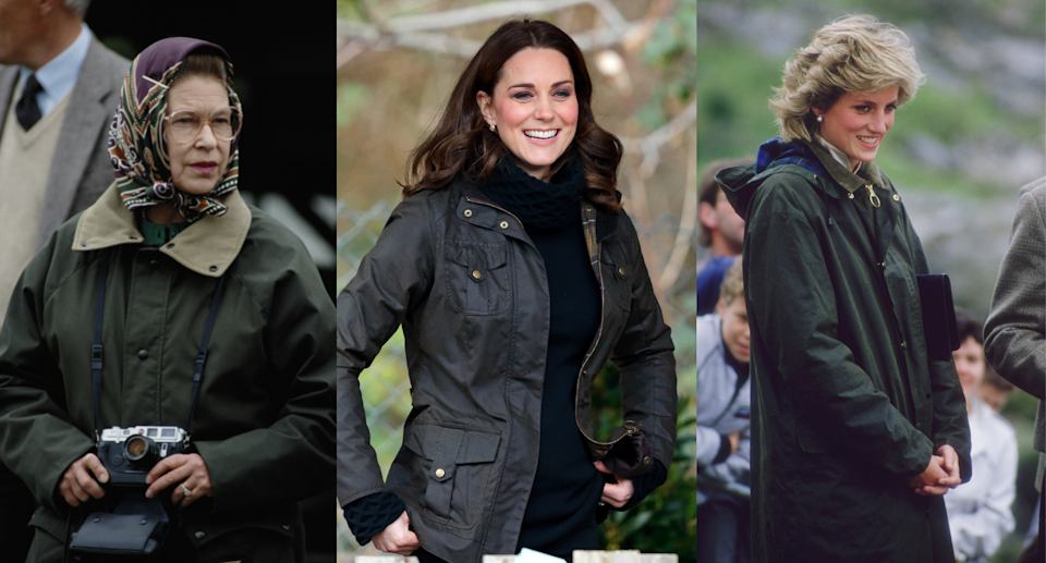 queen elizabeth, kate middleton, and princess diana wearing dark green barbour jackets