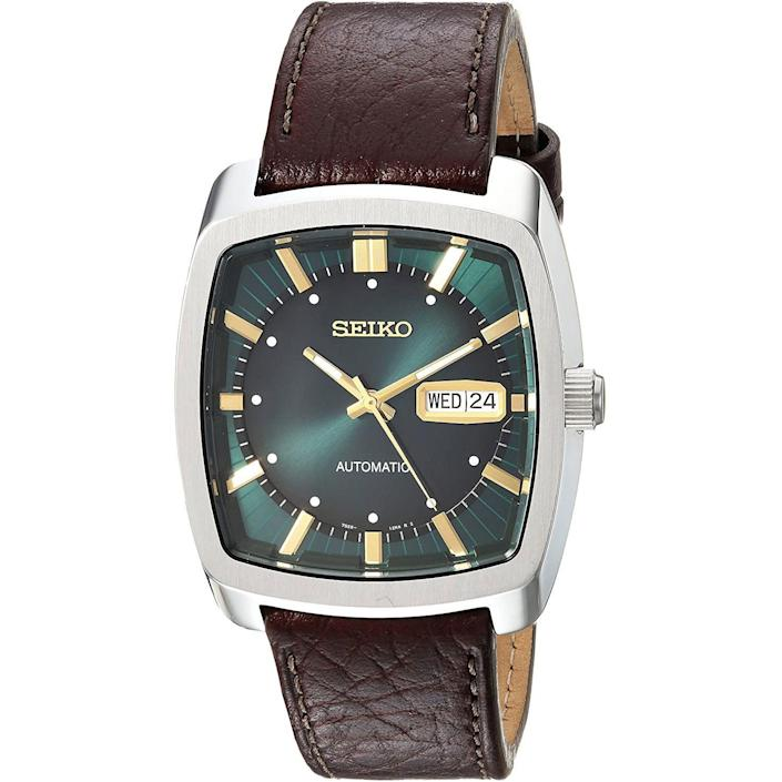 """<p><strong>SEIKO</strong></p><p>amazon.com</p><p><strong>$221.14</strong></p><p><a href=""""https://www.amazon.com/dp/B071LTYQXL?tag=syn-yahoo-20&ascsubtag=%5Bartid%7C10054.g.35351418%5Bsrc%7Cyahoo-us"""" rel=""""nofollow noopener"""" target=""""_blank"""" data-ylk=""""slk:Shop Now"""" class=""""link rapid-noclick-resp"""">Shop Now</a></p><p>A face that will have everyone green with envy. </p>"""
