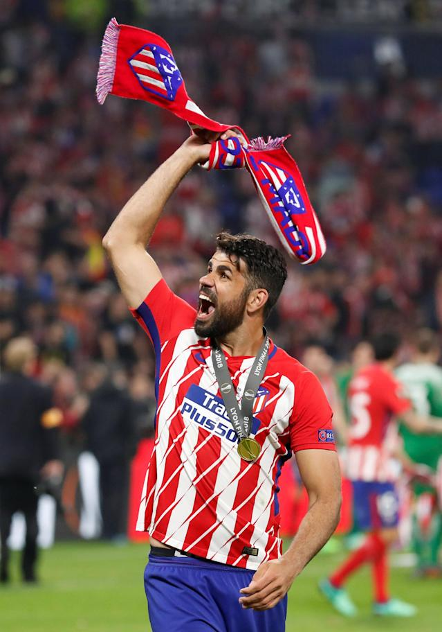 Soccer Football - Europa League Final - Olympique de Marseille vs Atletico Madrid - Groupama Stadium, Lyon, France - May 16, 2018 Atletico Madrid's Diego Costa celebrates after winning the Europa League REUTERS/Peter Cziborra