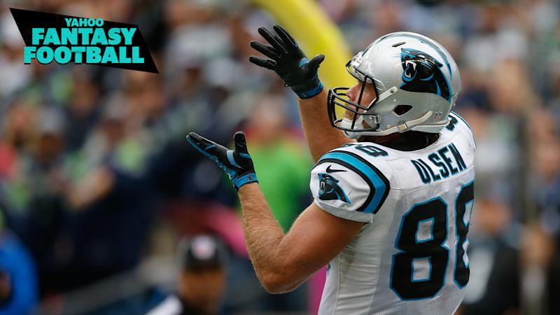 Former Carolina Panthers TE Greg Olsen catches a pass against Seattle in 2015. How will he fare in 2020 as a member of the Seahawks? Liz Loza & Matt Harmon discuss on the latest Yahoo Fantasy Football Podcast. (Photo by Otto Greule Jr/Getty Images)