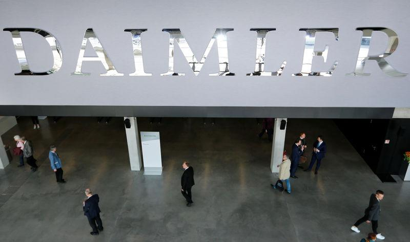 The Daimler logo is seen before the Daimler annual shareholder meeting in Berlin,