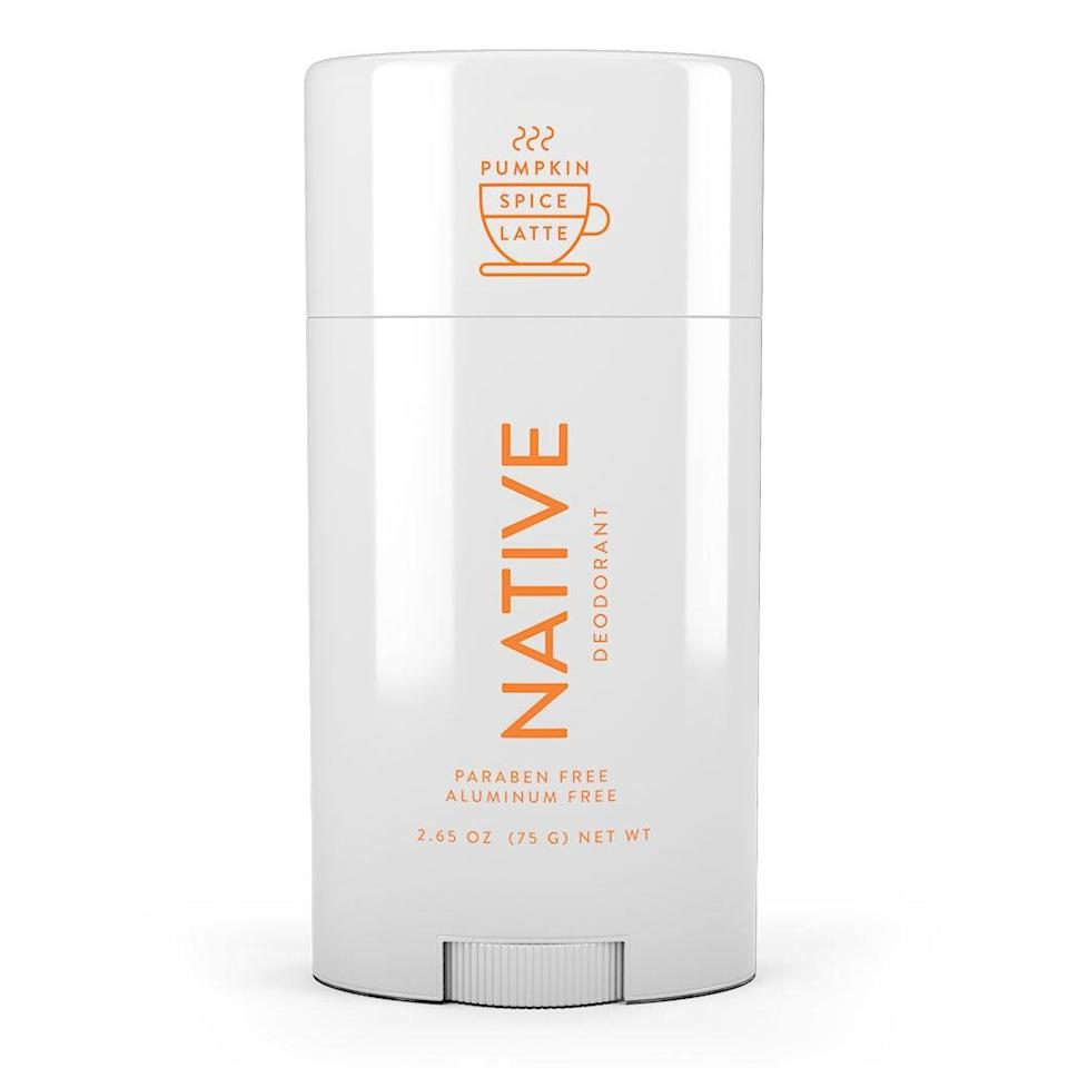 "<p>Every fall, Native brings back its best-selling <a href=""https://www.allure.com/story/native-pumpkin-spice-latte-deodorant-body-wash-bar-soap-details?mbid=synd_yahoo_rss"" rel=""nofollow noopener"" target=""_blank"" data-ylk=""slk:Pumpkin Spice Latte Deodorant"" class=""link rapid-noclick-resp"">Pumpkin Spice Latte Deodorant</a> because it's just that beloved. While having your underarms smell like a PSL might sound weird, the scent is subtle enough that it's not overpowering. (It also features notes of cinnamon, nutmeg, and clove, to balance out the pumpkin.)</p> <p><strong>$12</strong> (<a href=""https://www.nativecos.com/products/pumpkin-spice-latte-deodorant-womens"" rel=""nofollow noopener"" target=""_blank"" data-ylk=""slk:Shop Now"" class=""link rapid-noclick-resp"">Shop Now</a>)</p>"
