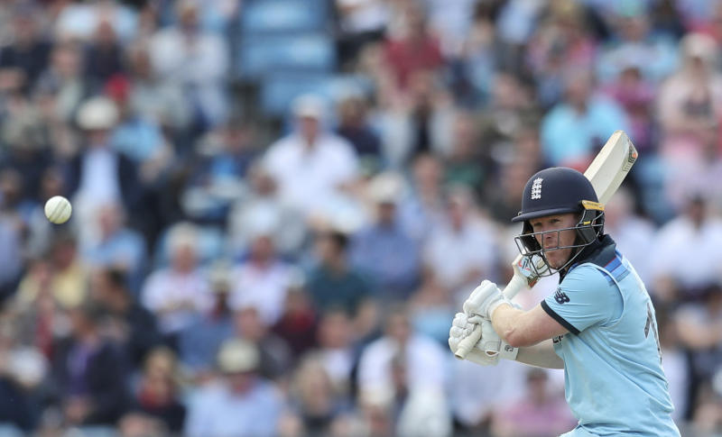 England's captain Eoin Morgan bats during the Cricket World Cup match between England and Sri Lanka in Leeds, England, Friday, June 21, 2019. (AP Photo/Jon Super)