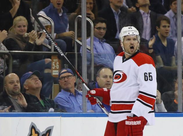NEW YORK, NY – NOVEMBER 29: Ron Hainsey #65 of the Carolina Hurricanes yells at the referee after receiving two minor penalties in the third period against the New York Rangers at Madison Square Garden on November 29, 2016 in New York City. The Rangers defeated the Hurricanes 2-1. (Photo by Bruce Bennett/Getty Images)
