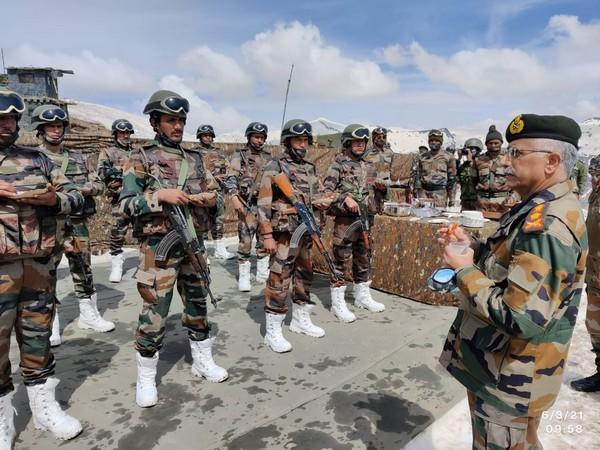 Visual of Indian Army chief MM Naravane's interaction with troops.