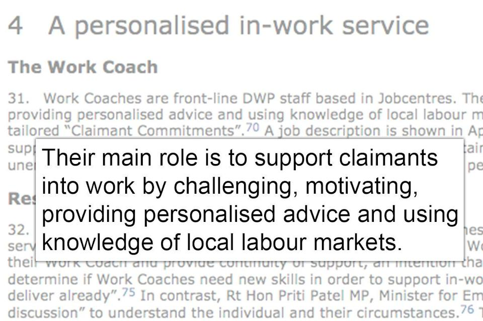 <strong>MPs described the main role ofa work coach to be 'support[ing] claimants into work'</strong> (Photo: Parliament/HuffPost UK)