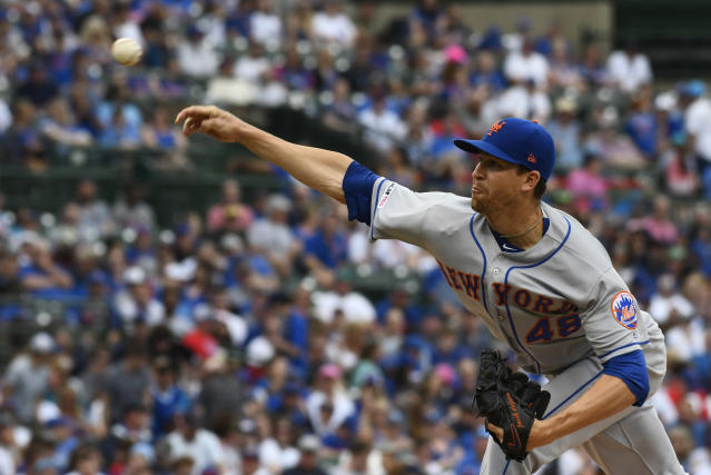 New York Mets starting pitcher Jacob deGrom (48) delivers during the first inning of a baseball game against the Chicago Cubs Sunday, June 23, 2019, in Chicago. (AP Photo/Matt Marton)
