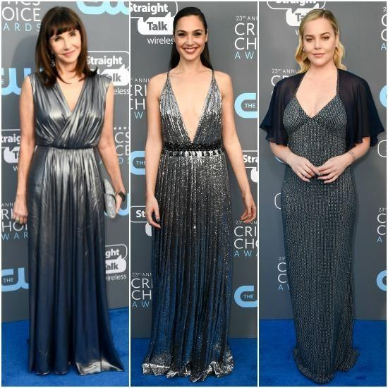 Likewise, Abbie Cornish, Mary Steenburgen and Gal Gadotin, in Prada, all went for metallic gowns on the red carpet. Photo: Getty Images