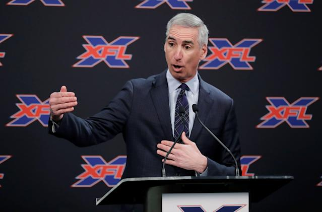On Monday, the XFL announced broadcasting deals with ESPN and Fox. Shown here is league CEO Oliver Luck. (AP)