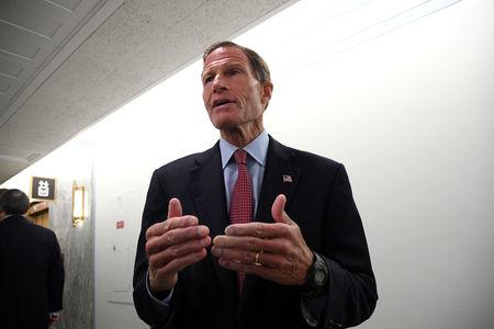FILE PHOTO: Sen. Richard Blumenthal, D-CT, arrives for the Senate Judiciary Committee confirmation hearing for U.S. Supreme Court nominee Brett Kavanaugh in Washington, U.S., September 27, 2018.  REUTERS/Mary F. Calvert/File Photo