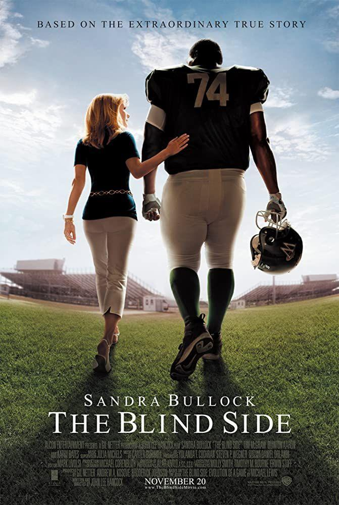 """<p>In spite of a tough upbringing, Michael Oher (Quinton Aaron) found new life in football—one that took him to the NFL. The flick shows Leigh Anne (Sandra Bullock) and Sean (Tim McGraw) take Oher under their wing and onto the football field. One thing's for sure: It'd be a win to have Leigh Anne (well, Sandra Bullock, tbh) in your corner.</p><p><a class=""""link rapid-noclick-resp"""" href=""""https://www.amazon.com/Blind-Side-Sandra-Bullock/dp/B0091W4PRC?tag=syn-yahoo-20&ascsubtag=%5Bartid%7C10063.g.36572054%5Bsrc%7Cyahoo-us"""" rel=""""nofollow noopener"""" target=""""_blank"""" data-ylk=""""slk:Watch Here"""">Watch Here</a></p>"""