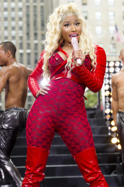 """FILE - This Aug. 14, 2012 file photoNicki Minaj performs on NBC's """"Today"""" show on Tuesday, Aug. 14, 2012 in New York. Minaj is set to perform at the MTV Video Music Awards with a special guest on Thursday, Sept. 6. (Photo by Charles Sykes/Invision/AP)"""
