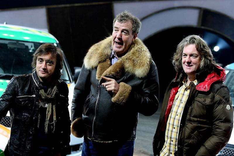 (Left - right) Richard Hammond, Jeremey Clarkson and James May from BBC television programme Top Gear at the Top Gear Live show at the RDS Showgrounds, Dublin. (Photo by Julien Behal/PA Images via Getty Images)