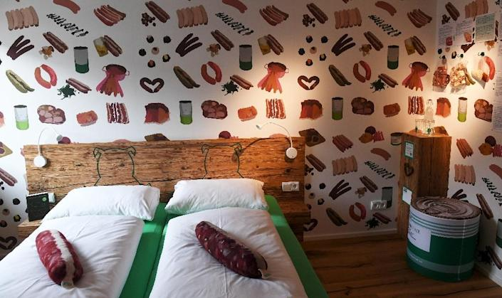 A sausage-themed hotel has opened in Germany to help keep the village butcher's shop alive (AFP Photo/Christof STACHE)