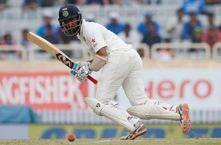 Cricket - India v Australia - Third Test cricket match - Jharkhand State Cricket Association Stadium, Ranchi, India - 19/03/17 - India's Cheteshwar Pujara plays a shot. REUTERS/Adnan Abidi