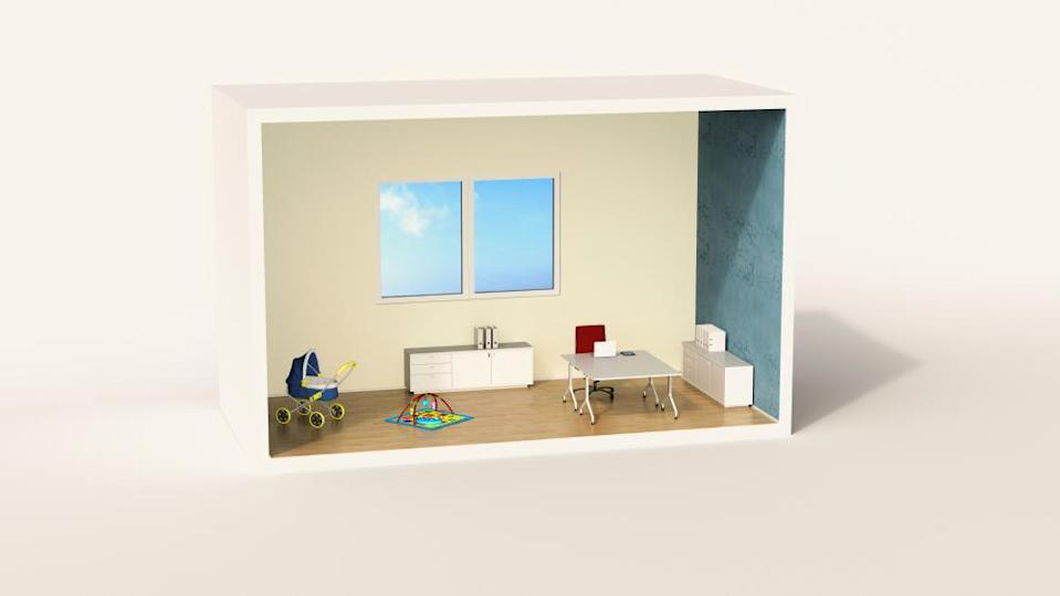 Model of a home office with child's play corner.