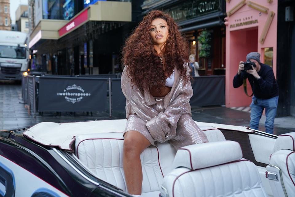 Jesy Nelson arrives at Global's studios in Leicester Square, London, to support Global's Make Some Noise Charity Day. Picture date: Friday October 8, 2021. (Photo by Yui Mok/PA Images via Getty Images)