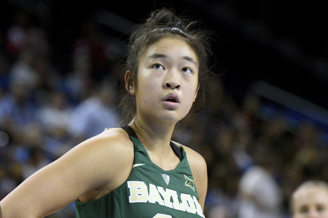 Baylor's Natalie Chou during an NCAA college basketball game against UCLA in Los Angeles, Saturday, Nov. 18, 2017. (AP Photo/Michael Owen Baker)