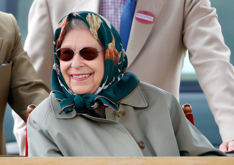 WINDSOR, UNITED KINGDOM - JULY 04: (EMBARGOED FOR PUBLICATION IN UK NEWSPAPERS UNTIL 24 HOURS AFTER CREATE DATE AND TIME) Queen Elizabeth II watches her horse 'Fools Paradise' compete in the 'Small Riding Horse' class on day 4 of the Royal Windsor Horse Show in Home Park, Windsor Castle on July 4, 2021 in Windsor, England. (Photo by Max Mumby/Indigo/Getty Images)