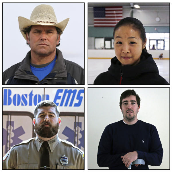 This combination of March 2014 photos shows Carlos Arredondo, Devin Wang, Jeff Bauman and Paul Mitchell, clockwise from top left. The four were captured in an Associated Press photo that shows three rescuers rushing an injured man from the scene of the Boston Marathon bombings: Arredondo, a former rodeo clown and bystander; Wang, a Boston University volunteer studying to be an athletic trainer, and Mitchell, an EMT for the City of Boston, are all credited with helping save Bauman's life after his traumatic injuries. Bauman helped identify one of the two brothers accused of setting off the bombs, which killed three and injured more than 260 others. (AP Photo/Charles Krupa)