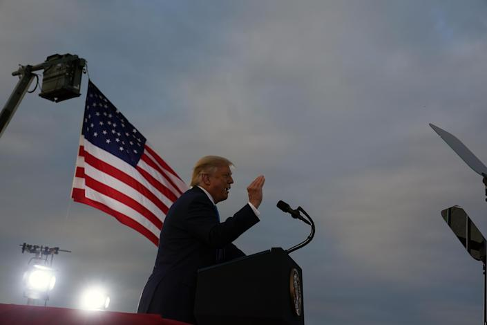 President Donald Trump speaks at a campaign rally in Latrobe, Pa., on Thursday evening, Sept. 3, 2020. (Anna Moneymaker/The New York Times)