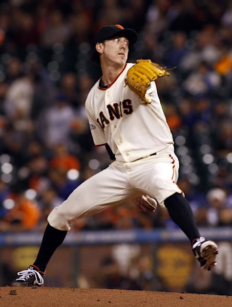 San Francisco Giants pitcher Tim Lincecum throws to the Los Angeles Dodgers during the first inning of a baseball game in San Francisco, Thursday, Sept. 26, 2013. (AP Photo/George Nikitin)