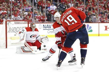 Apr 13, 2019; Washington, DC, USA; Washington Capitals center Nicklas Backstrom (19) shoots the puck on Carolina Hurricanes goaltender Petr Mrazek (34) in the first period in game two of the first round of the 2019 Stanley Cup Playoffs at Capital One Arena. Mandatory Credit: Geoff Burke-USA TODAY Sports