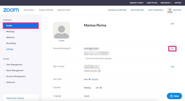 How to change personal meeting id in Zoom