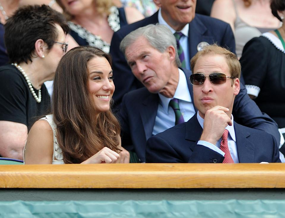 A few years later, the Duke and Duchess of Cambridge are photographed in the Royal Box on centre court. The pair had only been married a couple of months at this point. <em>[Photo: PA]</em>