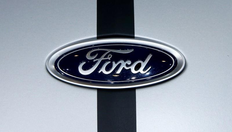 FILE PHOTO: The logo of Ford is seen during the 87th International Motor Show at Palexpo in Geneva