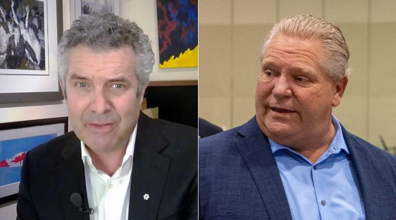 Comedian Rick Mercer uses a cringe-worthy image of Premier Doug Ford in a new video telling people to stay home. (Photo: HuffPost Composite/Twitter/Canadian Press)