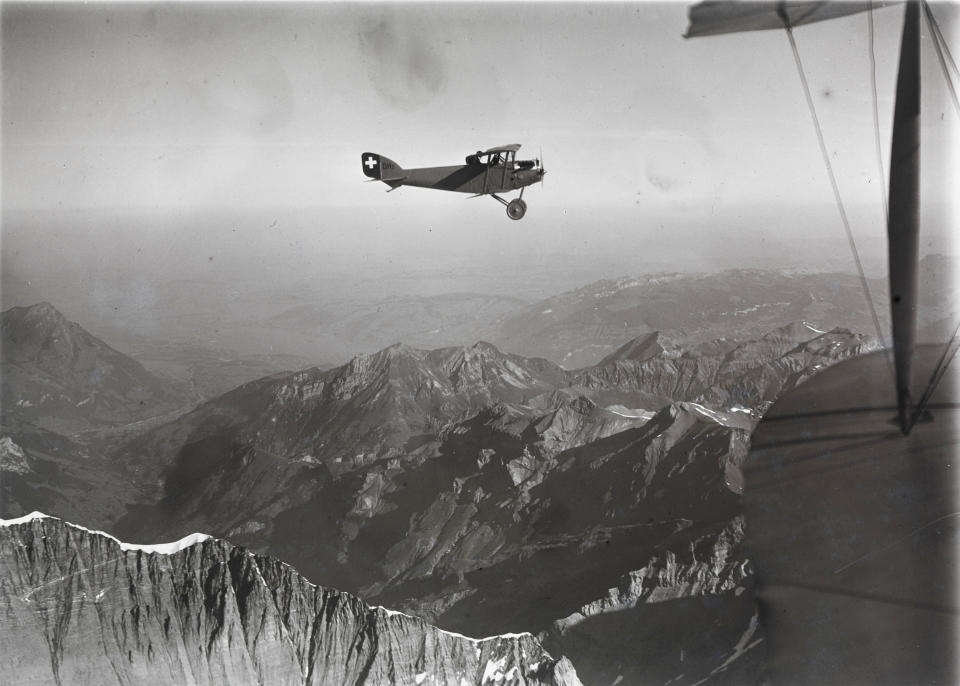 Swiss pilot and photographer Walter Mittelholzer flew over Mont Blanc in a biplane to photograph the landscape around the mountain in southern France. (Walter Mittelholzer)